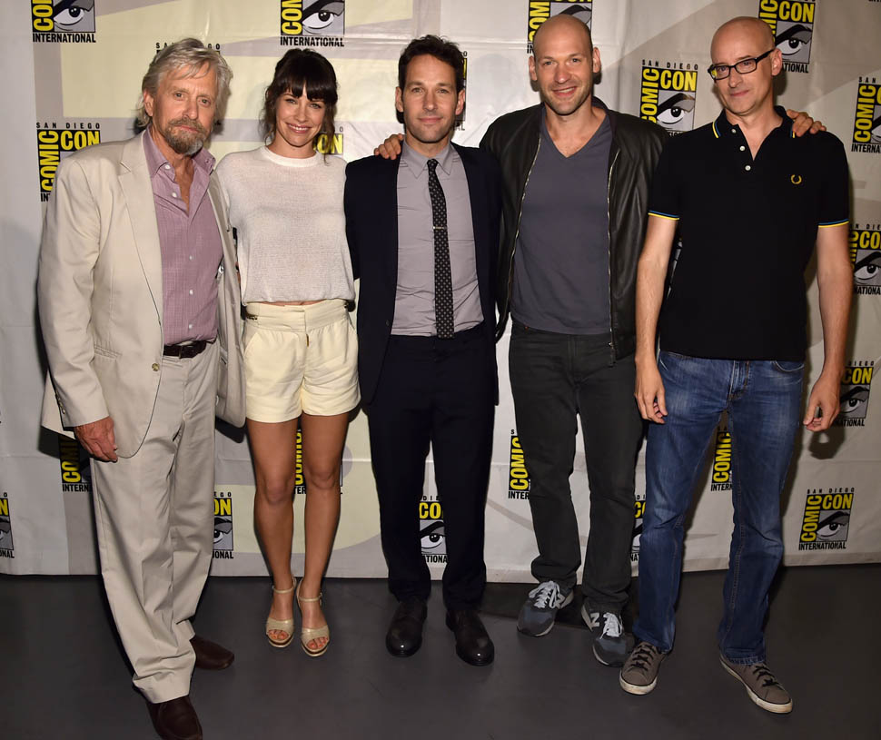 "SAN DIEGO, CA - JULY 26: (L-R) Actors Michael Douglas, Evangeline Lilly, Paul Rudd, Corey Stoll and director Peyton Reed attend Marvel's Hall H Panel for ""Ant-Man"" during Comic-Con International 2014 at San Diego Convention Center on July 26, 2014 in San Diego, California.  (Photo by Alberto E. Rodriguez/Getty Images for Disney)"
