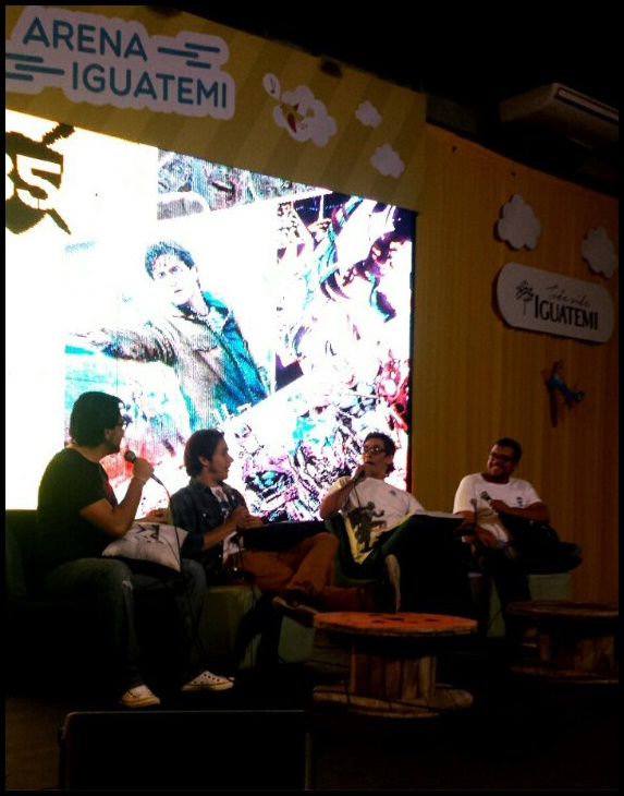 Rildon Oliver, vocês sabem de onde...; Renan Fernandes, jornalista da Nordeste TV; Fernando Lima, ilustrador e quadrinista; e Jackson Cruz, jornalista da Tribuna do Ceará.